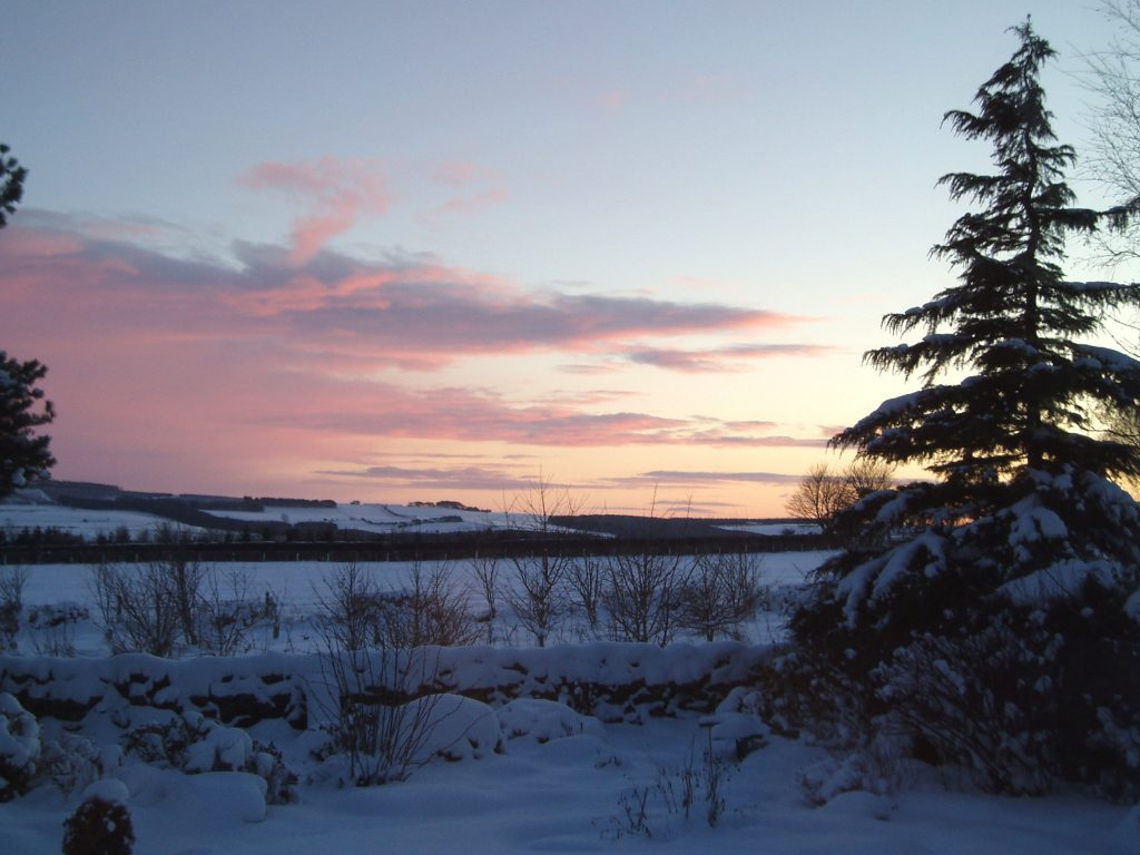 Christmas peace, winter sunset